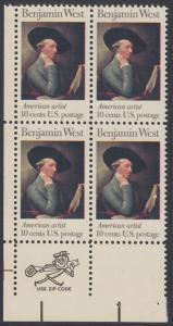USA Michel 1163 / Scott 1553 postfrisch ZIP-BLOCK (ll) - Amerikanische Künstler: Benjamin West, Maler