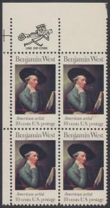 USA Michel 1163 / Scott 1553 postfrisch ZIP-BLOCK (ul) - Amerikanische Künstler: Benjamin West, Maler