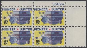 USA Michel 1164 / Scott 1556 postfrisch PLATEBLOCK ECKRAND oben rechts m/ Platten-# 35824 - Pioneer-Programm zur Erforschung des Planeten Jupiter; Raumsonde Pioneer, Planet Jupiter mit Monden