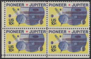 USA Michel 1164 / Scott 1556 postfrisch BLOCK ECKRAND unten links - Pioneer-Programm zur Erforschung des Planeten Jupiter; Raumsonde Pioneer, Planet Jupiter mit Monden