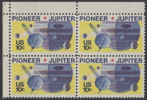 USA Michel 1164 / Scott 1556 postfrisch BLOCK ECKRAND oben links - Pioneer-Programm zur Erforschung des Planeten Jupiter; Raumsonde Pioneer, Planet Jupiter mit Monden