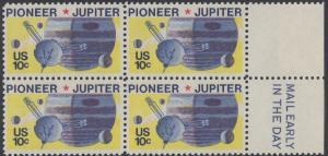 USA Michel 1164 / Scott 1556 postfrisch BLOCK RÄNDER rechts m/ Mail Early-Vermerk - Pioneer-Programm zur Erforschung des Planeten Jupiter; Raumsonde Pioneer, Planet Jupiter mit Monden