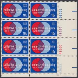 USA Michel 1165 / Scott 1558 postfrisch vert.PLATEBLOCK(8) ECKRAND unten rechts m/ Platten-# 35583 - Partnerschaftliche Verhandlungen zwischen Arbeitnehmern und Arbeitgebern; Symbolik der Zusammenarbeit