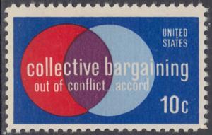 USA Michel 1165 / Scott 1558 postfrisch EINZELMARKE RAND unten - Partnerschaftliche Verhandlungen zwischen Arbeitnehmern und Arbeitgebern; Symbolik der Zusammenarbeit
