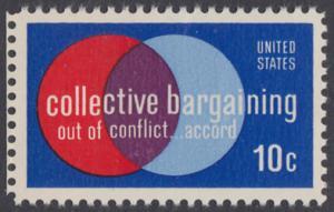 USA Michel 1165 / Scott 1558 postfrisch EINZELMARKE RAND links - Partnerschaftliche Verhandlungen zwischen Arbeitnehmern und Arbeitgebern; Symbolik der Zusammenarbeit