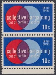 USA Michel 1165 / Scott 1558 postfrisch vert.PAAR RAND unten - Partnerschaftliche Verhandlungen zwischen Arbeitnehmern und Arbeitgebern; Symbolik der Zusammenarbeit