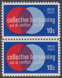 USA Michel 1165 / Scott 1558 postfrisch vert.PAAR - Partnerschaftliche Verhandlungen zwischen Arbeitnehmern und Arbeitgebern; Symbolik der Zusammenarbeit