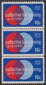 USA Michel 1165 / Scott 1558 postfrisch vert.STRING(3)- Partnerschaftliche Verhandlungen zwischen Arbeitnehmern und Arbeitgebern; Symbolik der Zusammenarbeit
