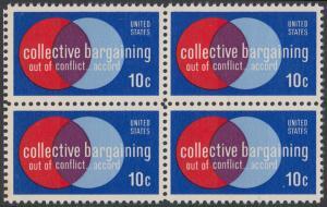 USA Michel 1165 / Scott 1558 postfrisch BLOCK - Partnerschaftliche Verhandlungen zwischen Arbeitnehmern und Arbeitgebern; Symbolik der Zusammenarbeit