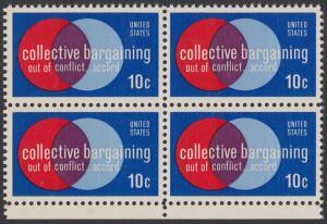USA Michel 1165 / Scott 1558 postfrisch BLOCK RÄNDER unten - Partnerschaftliche Verhandlungen zwischen Arbeitnehmern und Arbeitgebern; Symbolik der Zusammenarbeit