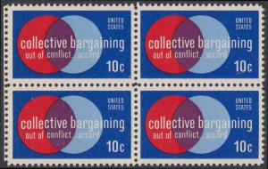 USA Michel 1165 / Scott 1558 postfrisch BLOCK RÄNDER links - Partnerschaftliche Verhandlungen zwischen Arbeitnehmern und Arbeitgebern; Symbolik der Zusammenarbeit