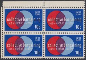 USA Michel 1165 / Scott 1558 postfrisch BLOCK ECKRAND oben links - Partnerschaftliche Verhandlungen zwischen Arbeitnehmern und Arbeitgebern; Symbolik der Zusammenarbeit