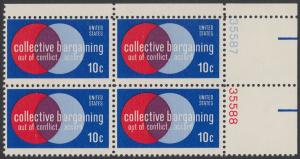 USA Michel 1165 / Scott 1558 postfrisch BLOCK ECKRAND oben rechts m/ Platten-# 35587 - Partnerschaftliche Verhandlungen zwischen Arbeitnehmern und Arbeitgebern; Symbolik der Zusammenarbeit