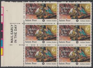 USA Michel 1167 / Scott 1560 postfrisch vert.BLOCK(6) RÄNDER links m/ Mail Early-Vermerk - 200 Jahre Unabhängigkeit der Vereinigten Staaten von Amerika (1976): Salem Poor (1747-1802)