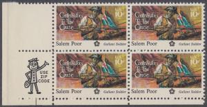 USA Michel 1167 / Scott 1560 postfrisch ZIP-BLOCK (ll) - 200 Jahre Unabhängigkeit der Vereinigten Staaten von Amerika (1976): Salem Poor (1747-1802)