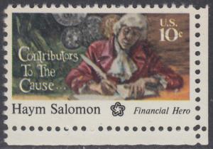 USA Michel 1168 / Scott 1561 postfrisch EINZELMARKE ECKRAND unten rechts - 200 Jahre Unabhängigkeit der Vereinigten Staaten von Amerika (1976): Haym Salomon (1740-1795)