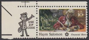 USA Michel 1168 / Scott 1561 postfrisch EINZELMARKE ECKRAND oben links m/ ZIP-Emblem - 200 Jahre Unabhängigkeit der Vereinigten Staaten von Amerika (1976): Haym Salomon (1740-1795)