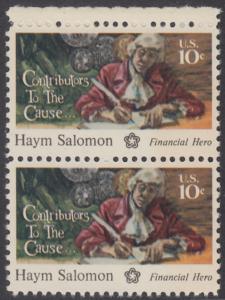 USA Michel 1168 / Scott 1561 postfrisch vert.PAAR RAND oben - 200 Jahre Unabhängigkeit der Vereinigten Staaten von Amerika (1976): Haym Salomon (1740-1795)
