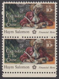 USA Michel 1168 / Scott 1561 postfrisch vert.PAAR RAND unten - 200 Jahre Unabhängigkeit der Vereinigten Staaten von Amerika (1976): Haym Salomon (1740-1795)