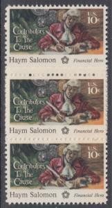 USA Michel 1168 / Scott 1561 postfrisch vert.STRIP(3) - 200 Jahre Unabhängigkeit der Vereinigten Staaten von Amerika (1976): Haym Salomon (1740-1795)