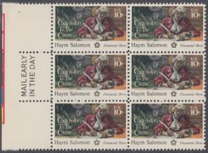 USA Michel 1168 / Scott 1561 postfrisch vert.BLOCK(6) RÄNDER links m/ Mail Early-Vermerk - 200 Jahre Unabhängigkeit der Vereinigten Staaten von Amerika (1976): Haym Salomon (1740-1795)