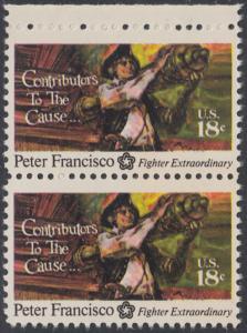 USA Michel 1169 / Scott 1562 postfrisch vert.PAAR RAND oben - 200 Jahre Unabhängigkeit der Vereinigten Staaten von Amerika (1976): Peter Francisco (1760-1831)