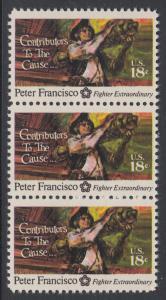 USA Michel 1169 / Scott 1562 postfrisch vert.STRIP(3) - 200 Jahre Unabhängigkeit der Vereinigten Staaten von Amerika (1976): Peter Francisco (1760-1831)
