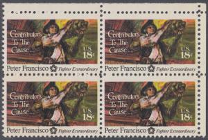 USA Michel 1169 / Scott 1562 postfrisch BLOCK ECKRAND oben rechts - 200 Jahre Unabhängigkeit der Vereinigten Staaten von Amerika (1976): Peter Francisco (1760-1831)