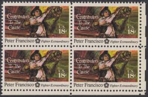 USA Michel 1169 / Scott 1562 postfrisch BLOCK ECKRAND unten rechts - 200 Jahre Unabhängigkeit der Vereinigten Staaten von Amerika (1976): Peter Francisco (1760-1831)