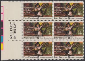 USA Michel 1169 / Scott 1562 postfrisch vert.BLOCK(6) RÄNDER links m/ Mail Early-Vermerk - 200 Jahre Unabhängigkeit der Vereinigten Staaten von Amerika (1976): Peter Francisco (1760-1831)