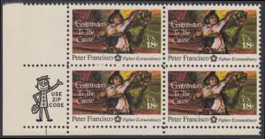 USA Michel 1169 / Scott 1562 postfrisch ZIP-BLOCK (ll) - 200 Jahre Unabhängigkeit der Vereinigten Staaten von Amerika (1976): Peter Francisco (1760-1831)