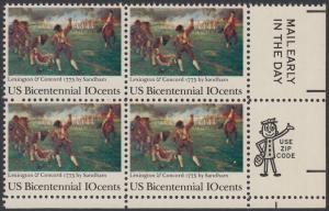USA Michel 1171 / Scott 1563 postfrisch ZIP-BLOCK (lr) - 200 Jahre Unabhängigkeit der Vereinigten Staaten von Amerika (1976): 200. Jahrestag der Schlacht von Lexington-Concord