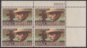 USA Michel 1173 / Scott 1555 postfrisch PLATEBLOCK ECKRAND oben rechts m/ Platten-# 36037 - Amerikanische Künstler: David Wark Griffith, Filmregissuer und -produzent