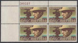 USA Michel 1173 / Scott 1555 postfrisch PLATEBLOCK ECKRAND oben links m/ Platten-# 36037 (a) - Amerikanische Künstler: David Wark Griffith, Filmregissuer und -produzent