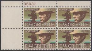 USA Michel 1173 / Scott 1555 postfrisch PLATEBLOCK ECKRAND oben links m/ Platten-# 36037 (b) - Amerikanische Künstler: David Wark Griffith, Filmregissuer und -produzent