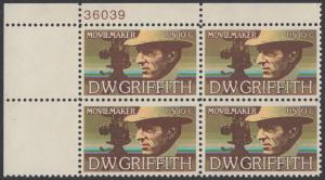 USA Michel 1173 / Scott 1555 postfrisch PLATEBLOCK ECKRAND oben links m/ Platten-# 36039 - Amerikanische Künstler: David Wark Griffith, Filmregissuer und -produzent