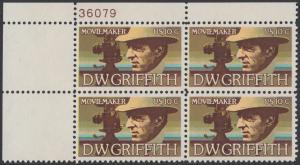 USA Michel 1173 / Scott 1555 postfrisch PLATEBLOCK ECKRAND oben links m/ Platten-# 36079 - Amerikanische Künstler: David Wark Griffith, Filmregissuer und -produzent