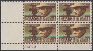 USA Michel 1173 / Scott 1555 postfrisch PLATEBLOCK ECKRAND unten links m/ Platten-# 36073 - Amerikanische Künstler: David Wark Griffith, Filmregissuer und -produzent