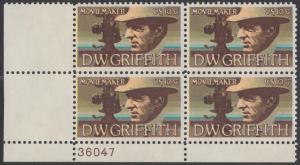 USA Michel 1173 / Scott 1555 postfrisch PLATEBLOCK ECKRAND unten links m/ Platten-# 36047 - Amerikanische Künstler: David Wark Griffith, Filmregissuer und -produzent