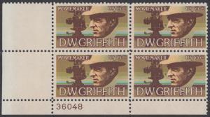 USA Michel 1173 / Scott 1555 postfrisch PLATEBLOCK ECKRAND unten links m/ Platten-# 36048 - Amerikanische Künstler: David Wark Griffith, Filmregissuer und -produzent
