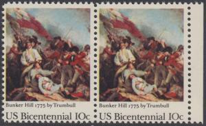 USA Michel 1174 / Scott 1564 postfrisch horiz.PAAR RAND rechts - 200 Jahre Unabhängigkeit der Vereinigten Staaten von Amerika (1976): 200. Jahrestag der Schlacht von Bunker Hill