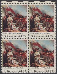 USA Michel 1174 / Scott 1564 postfrisch BLOCK RÄNDER oben - 200 Jahre Unabhängigkeit der Vereinigten Staaten von Amerika (1976): 200. Jahrestag der Schlacht von Bunker Hill