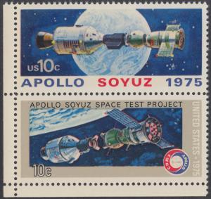 USA Michel 1179-1180 / Scott 1569-1570 postfrisch vert.PAAR ECKRAND unten links - Amerikanisch-sowjetisches Raumfahrt-Unternehmen Apollo-Sojus
