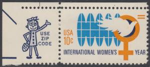 USA Michel 1181 / Scott 1571 postfrisch EINZELMARKE ECKRAND oben línks m/ ZIP-Emblem - Internationales Jahr der Frau; Weltkugel, Friedenstaube, biologisches Zeichen für weiblich