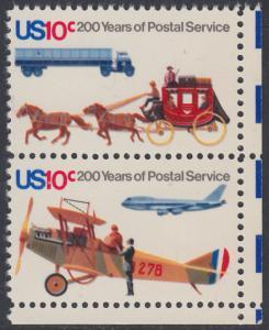 USA Michel 1183+1185 / Scott 1573+1574 postfrisch vert.PAAR ECKRAND unten rechts - 200 Jahre Postwesen in den USA