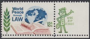 USA Michel 1186 / Scott 1576 postfrisch EINZELMARKE ECKRAND unten rechts m/ ZIP-Emblem - Juristenkongress in Washington, DC; Gesetzbuch und Hammer vor Erdkugel
