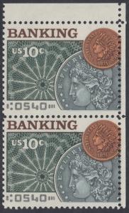 USA Michel 1187 / Scott 1577 postfrisch vert.PAAR ECKRAND oben rechts - Amerikanischer Bankverein; Münzen vor Banknotenrosette