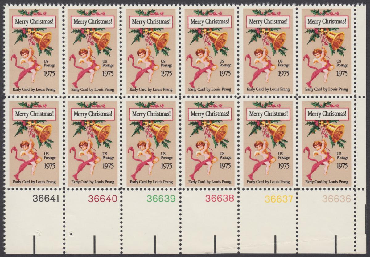 USA Michel 1189 / Scott 1580 postfrisch horiz.PLATEBLOCK(12) ECKRAND unten rechts m/ Platten-# 36636 - Weihnachten 0