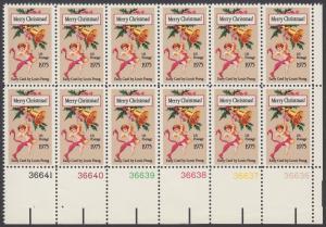 USA Michel 1189 / Scott 1580 postfrisch horiz.PLATEBLOCK(12) ECKRAND unten rechts m/ Platten-# 36636 - Weihnachten