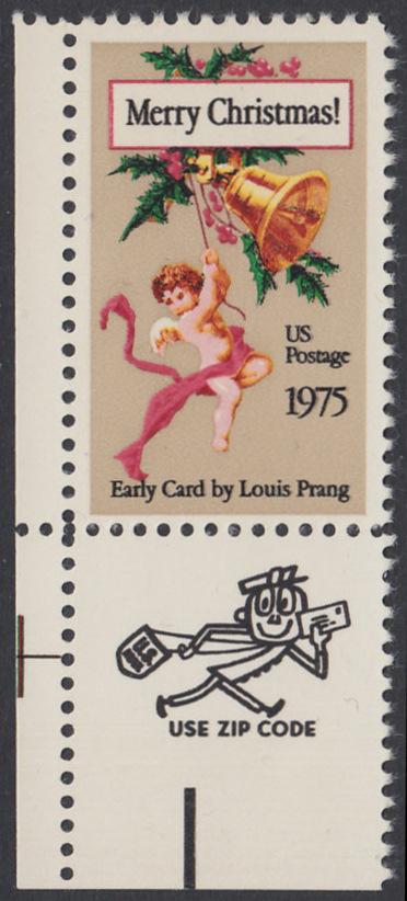 USA Michel 1189 / Scott 1580 postfrisch EINZELMARKE ECKRAND unten links m/ ZIP-Emblem - Weihnachten 0